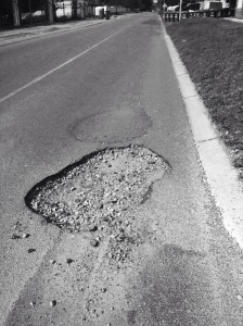 Typical pothole commonly seen across Johannesburg roads