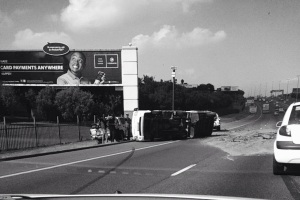 Overturned truck on the motorway
